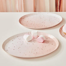 Lade das Bild in den Galerie-Viewer, Pink Watercolour Speckle Rose Gold Paper Plates image