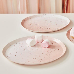Pink Watercolour Speckle Rose Gold Paper Plates image