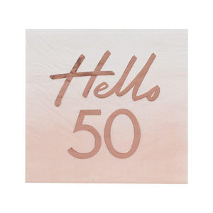 "Geburtstags-Papierservietten in Rosegold ""Hello 50"""