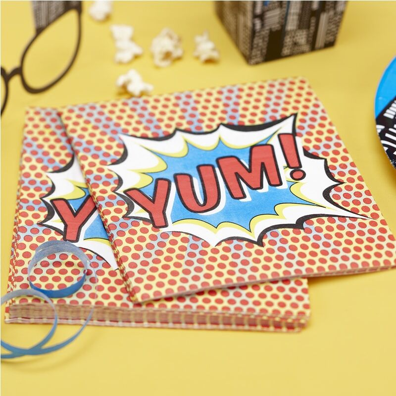 Yum Papierservietten - Pop-Art Superhelden-Party