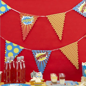 Pop-Art Wimpelkette - Superhelden-Party
