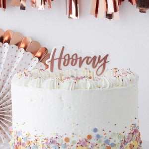 """Hooray"" Tortenkerzen in Rosegold - Pick & Mix"