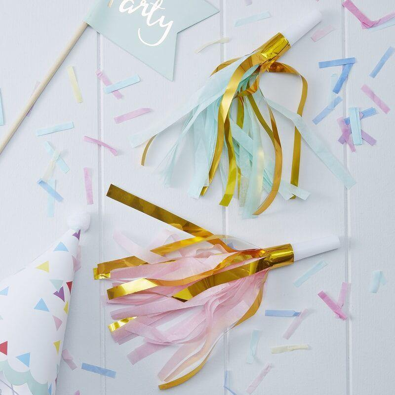 Gold Foil & Pastell Party Horns - Pick & Mix image