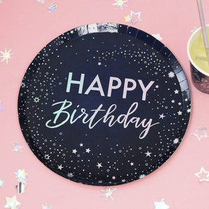 Schillernd Foiled Happy Birthday Paper Plates image