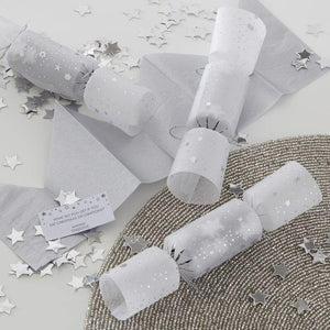 Silver Confetti Filled Christmas Cracker Dekorationen - Silber-Glitzer image