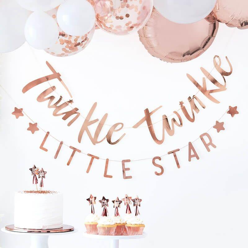 Babyparty-Girlande in Rosegold - Twinkle Twinkle