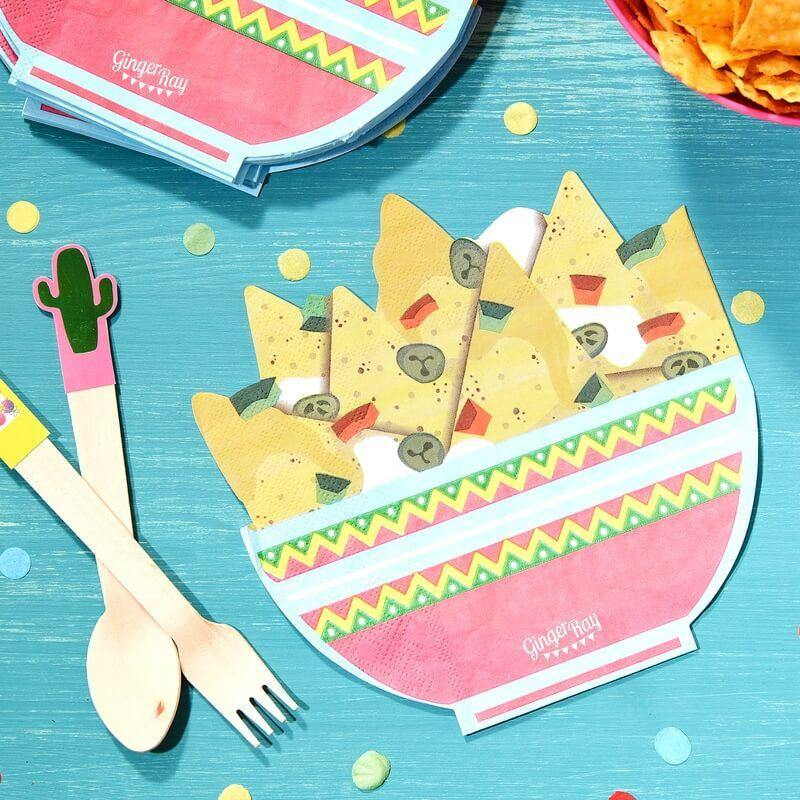 Nachos Shaped Paper Party Napkins - Fiesta Mexicana image