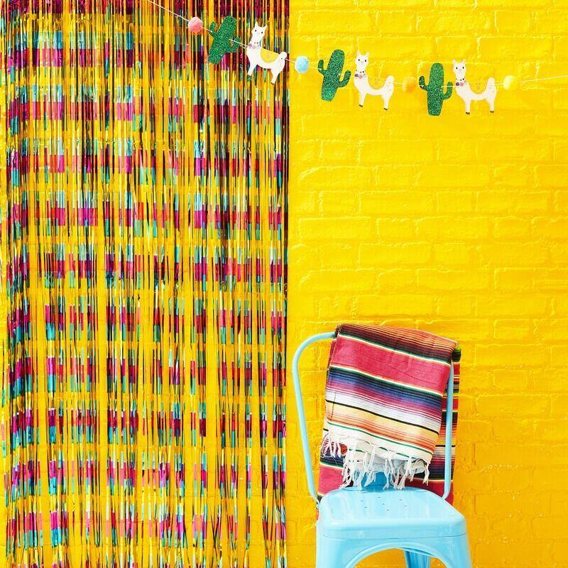 Multi Coloured Foil Curtain Backdrop - Fiesta Mexicana image