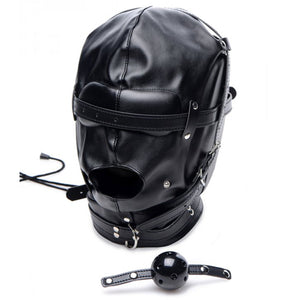 Strict Bondage Hood With Breathable Ball Gag