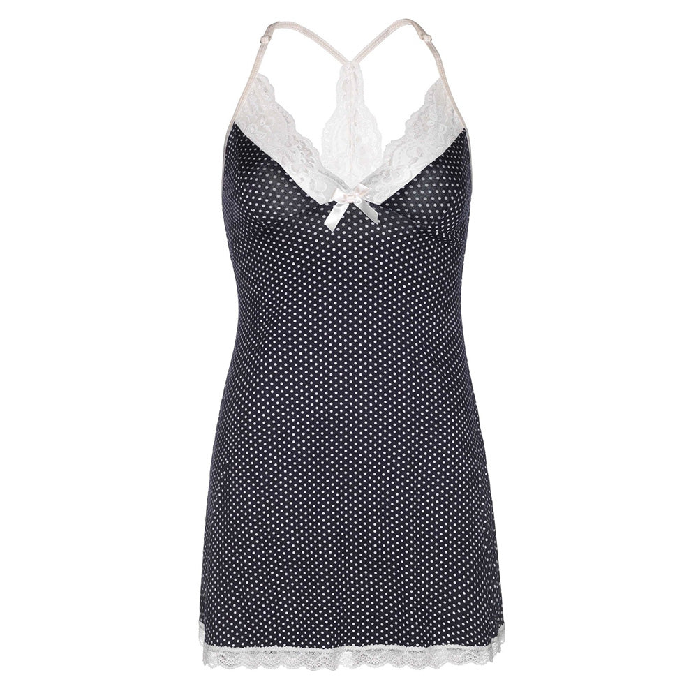 Leg Avenue Polka Dot Brushed Babydoll Nightie with Lace Trim