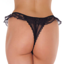 Load image into Gallery viewer, Frilly Black Lace Crotchless Tanga