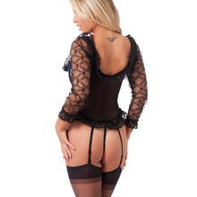 Load image into Gallery viewer, Blue And Black Basque With GString And Stockings