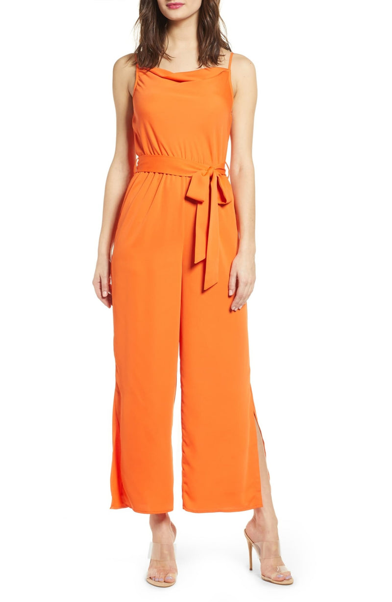 JOA Woven Cowl Neck Jumpsuit With Waist Tie