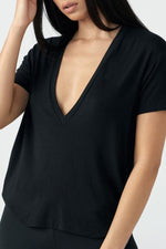 Joah Brown Plunge V Neck Tee - Black