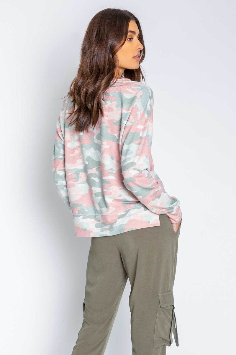 P.J. Salvage Camo In Color Long Sleeve Top