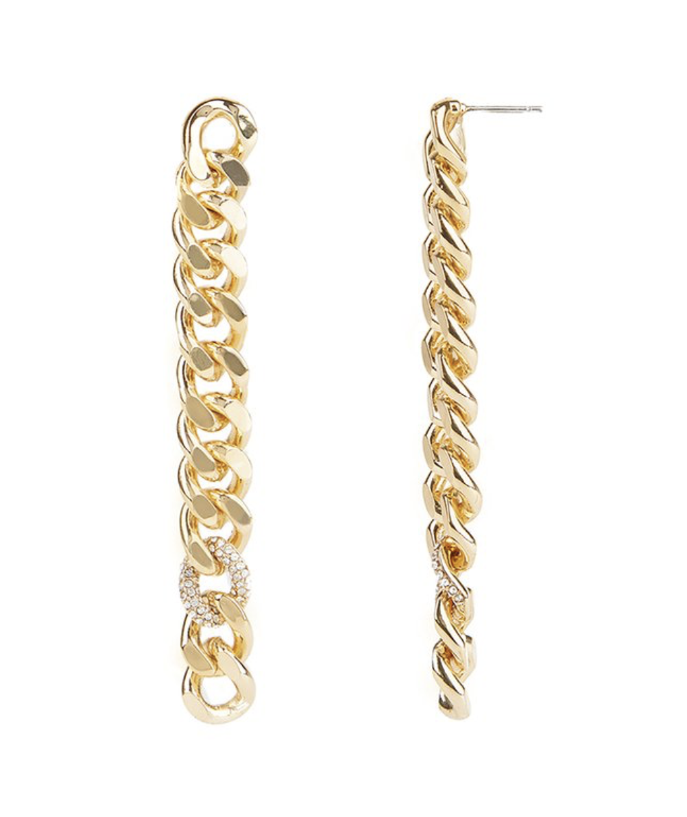Rebecca Minkoff Pave Links Linear Earrings