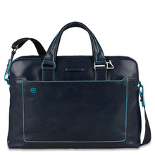 Load image into Gallery viewer, Piquadro Computer portfolio briefcase with iPad® compartment Blue Square (5884337750180)