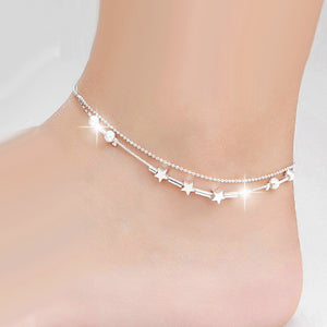 925 Sterling Silver Anklet - European Fashion Woman Girl Party Birthday Wedding Gift Star Beads Two Lines