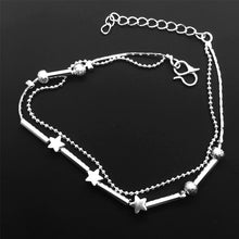 Load image into Gallery viewer, 925 Sterling Silver Anklet - European Fashion Woman Girl Party Birthday Wedding Gift Star Beads Two Lines