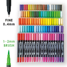 Load image into Gallery viewer, 120 Color Dual Brush Art Markers Pens Fine Tip and Brush Tip Great for Adult Coloring Books Calligraphy Lettering Art Supplies