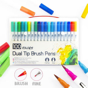 120 Color Dual Brush Art Markers Pens Fine Tip and Brush Tip Great for Adult Coloring Books Calligraphy Lettering Art Supplies