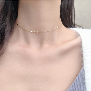 925 Sterling Silver Peach Heart Choker Necklace Clavicle Chain Short Choker Necklace For Women Fine Jewelry Brithday Gift