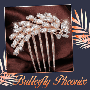 Pearl Rhinestone 5-Teeth Hair Combs - 2PCS