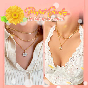 Rotatable Sunflower Pendant Necklace