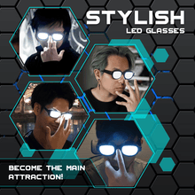 Load image into Gallery viewer, Cosplay LED Luminous Glasses