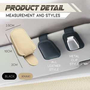 Premium Leather Car Sun Visor Organizing Clip