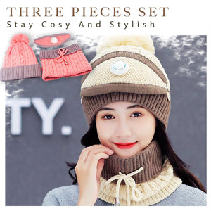 3PCS Womens Winter Keep Warm Scarf Set