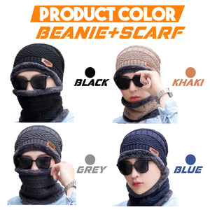 Beanie Warm Hat And Scarf Set 1688 Beanie+Scarf Grey