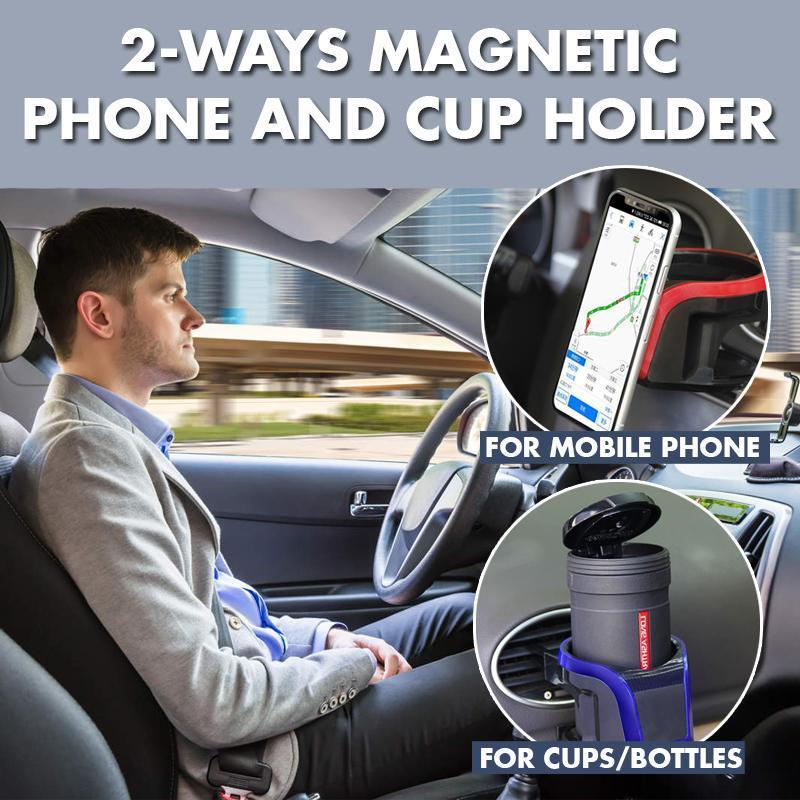 2-ways Magnetic Phone and Cup Holder