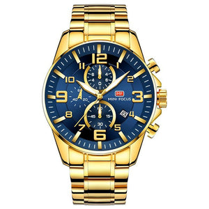 Gold Luminous Waterproof Steel Band Men Watch