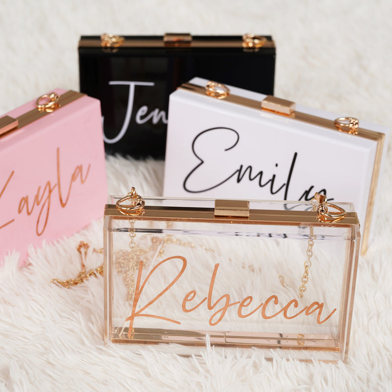 Bridesmaid Gifts Personalized Acrylic Clutch Bridesmaid Purse