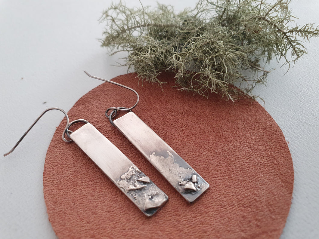 Long Rustic Earrings: 925 Silver