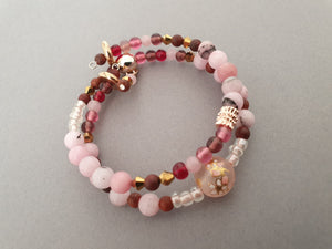 Double Layer Pearlescent Cherry Blossom Bracelet