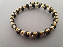 Load image into Gallery viewer, Black, Gold and Silver Beaded Bracelet