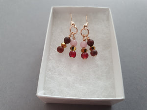 Red and Pink Cherry Blossom Dangle Earrings