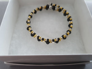 Black, Gold and Silver Beaded Bracelet