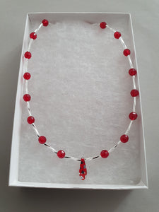 Red Pendant Beaded Necklace