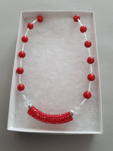 Load image into Gallery viewer, Red and White Beaded Necklace