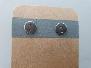 Magenta Dot Disc Stud Earrings