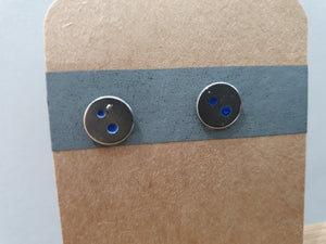 Blue Dot Disc Stud Earrings