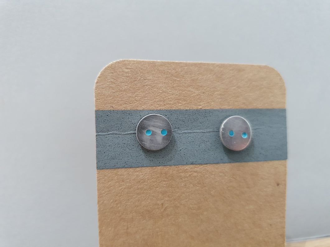 Turquoise Dot Disc Stud Earrings