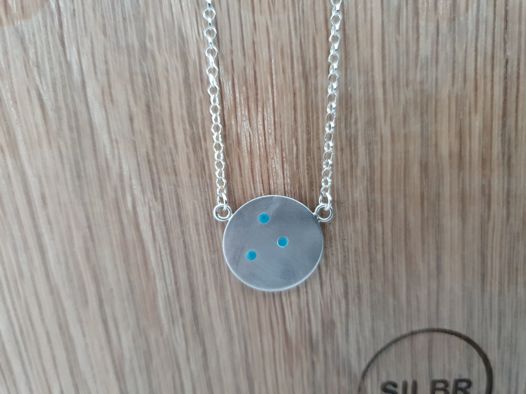 Turquoise Dot Disc Necklace