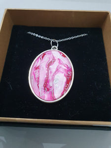 Pink Marble Oval Pendant Necklace