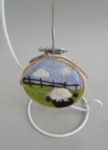 Needle Felted Hanging Ring - Sheep Field Design
