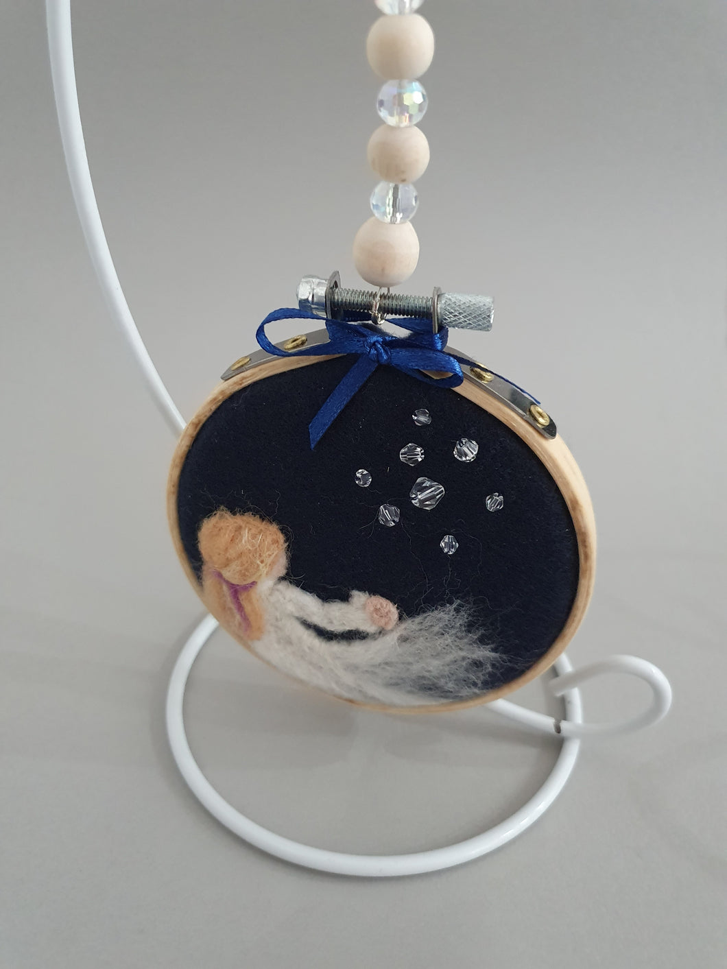 Needle Felted Hanging Ring - Bubbles in the Wind Design