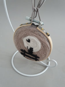 Needle Felted Hanging Ring - Black Cat in the Moonlight Design
